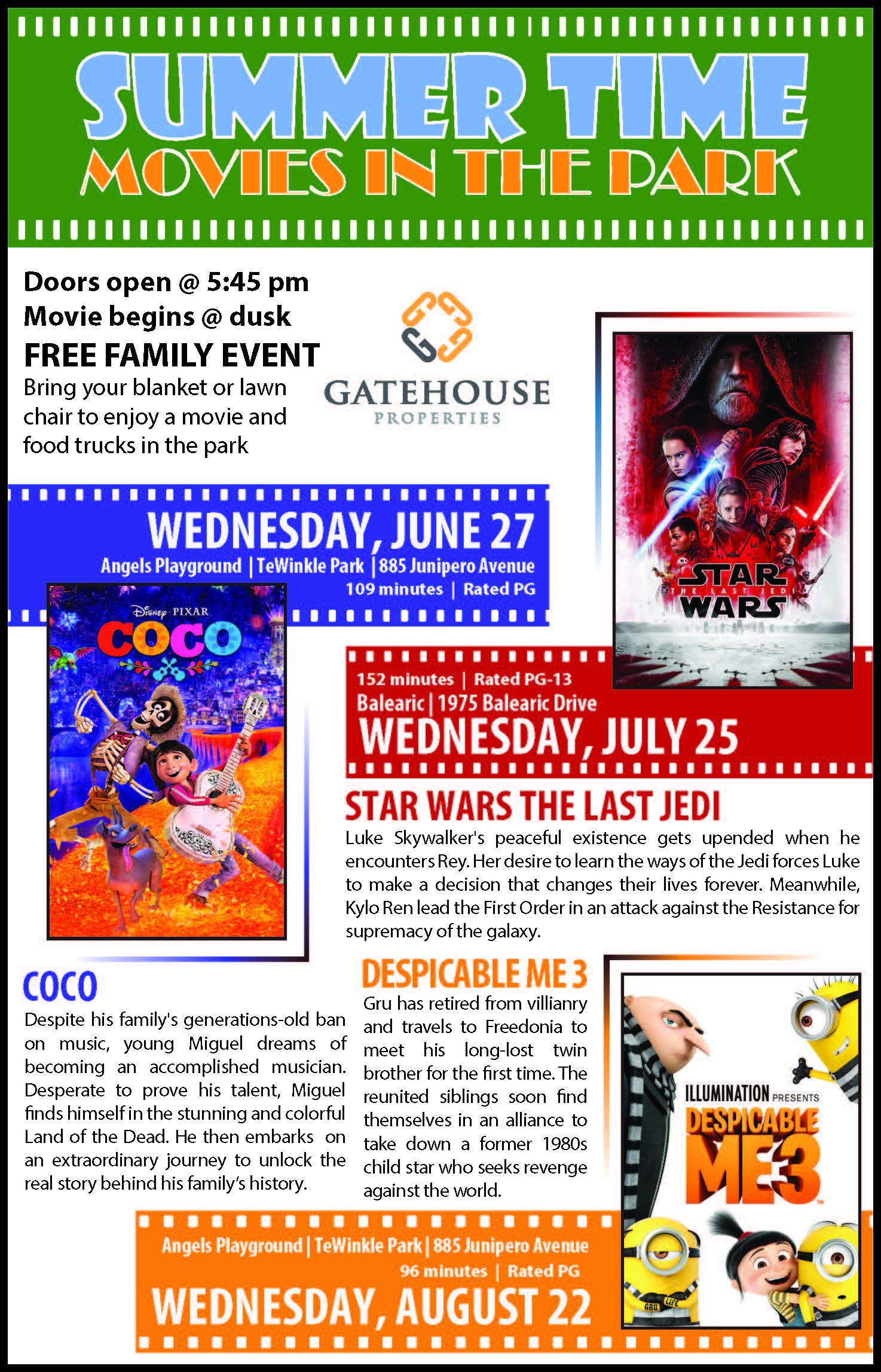 Movies in the Park | Custom Documents, Images & Calendar | City of