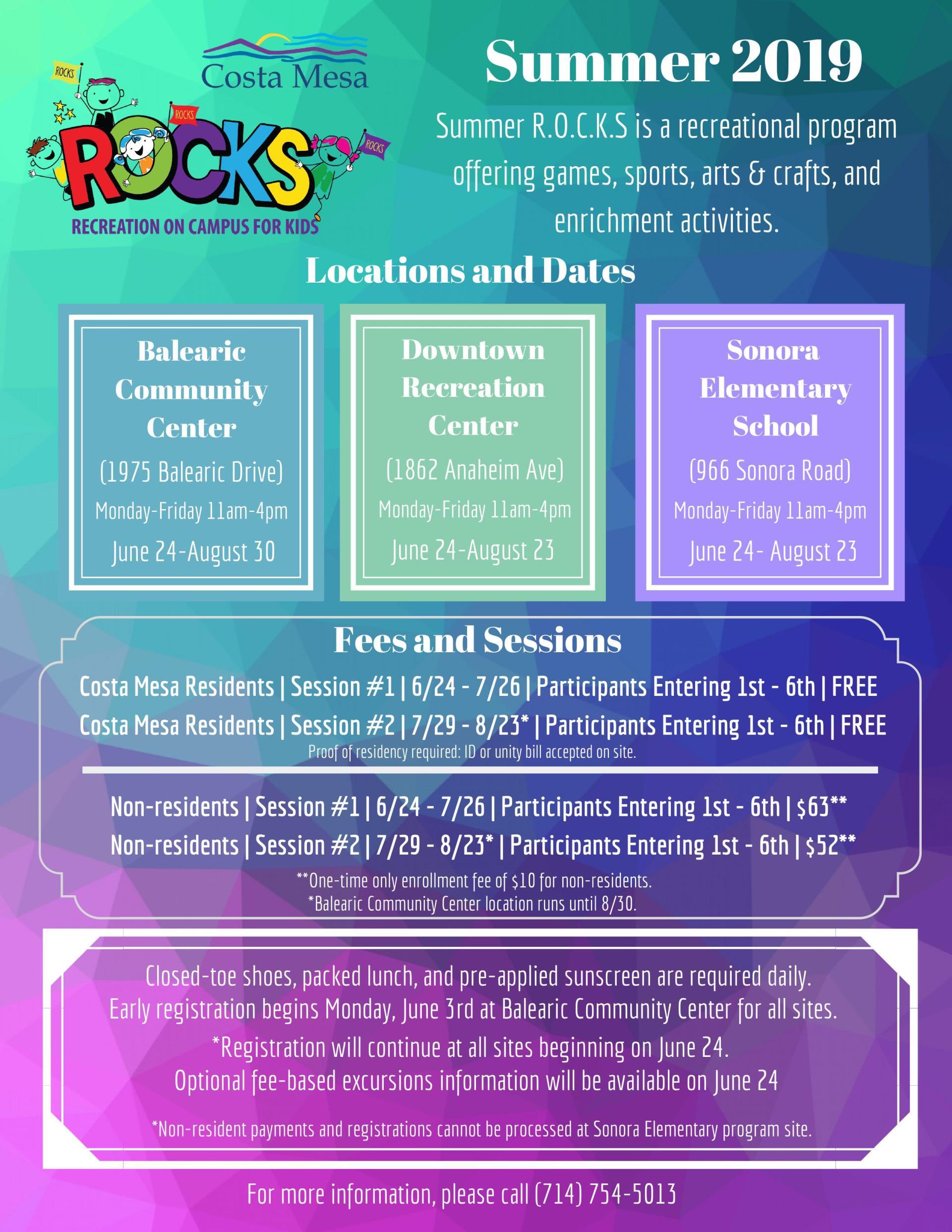 Friday August 1st Free Community >> Summer R O C K S Program City Of Costa Mesa
