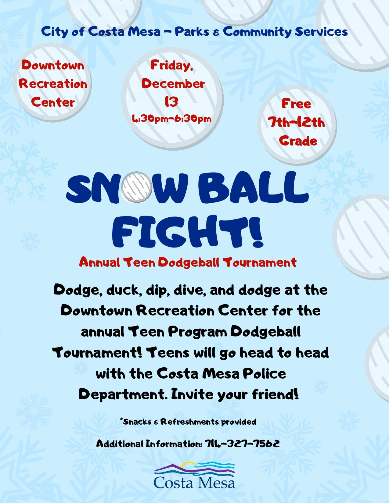 Teen Program-Snowball Fight! Dodgeball Tournament 2019-page-001