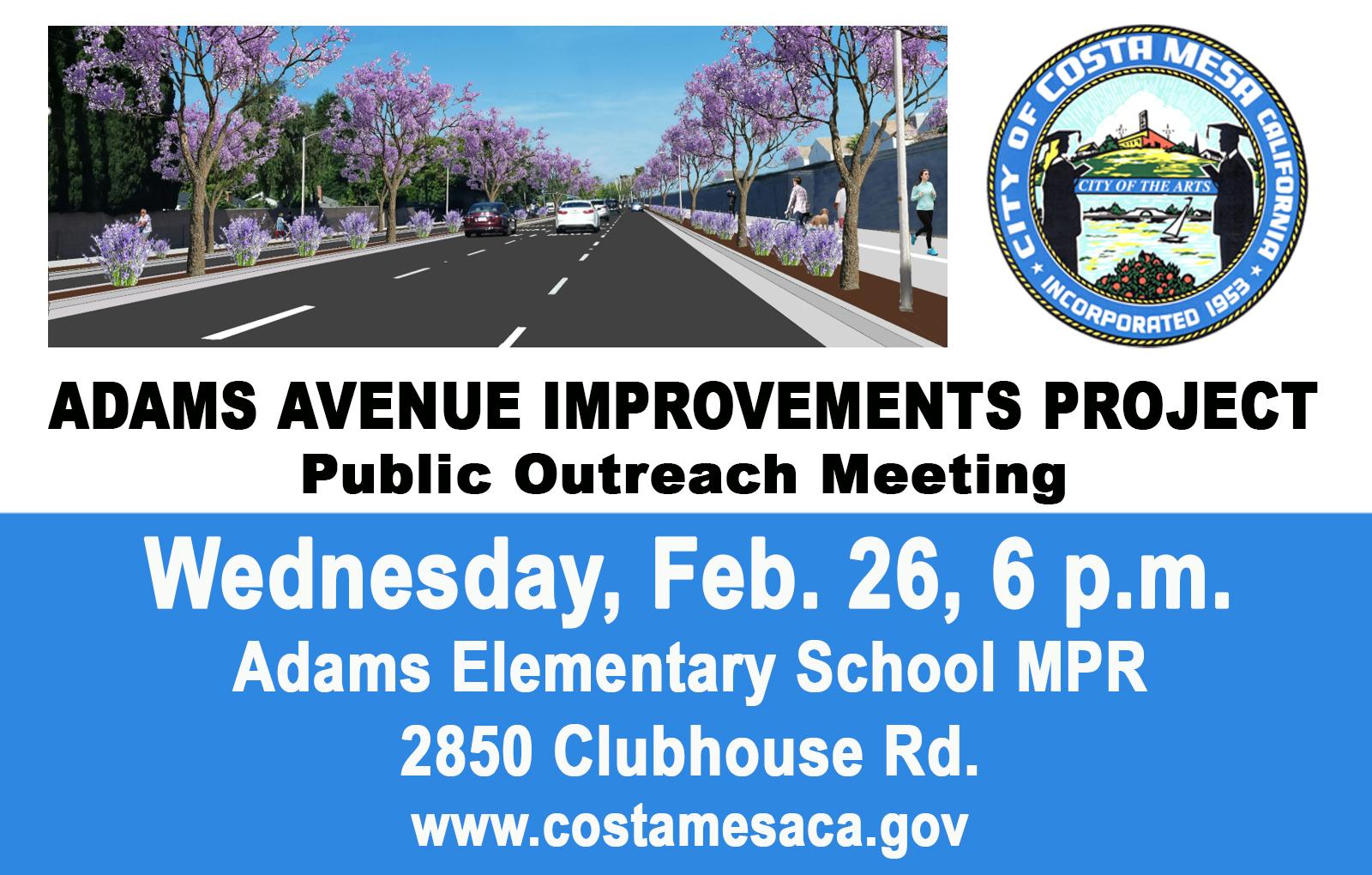 Adams Ave Improvements Project Community Meeting Community Calendar City Of Costa Mesa