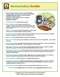 Electrical Safety checklist pic