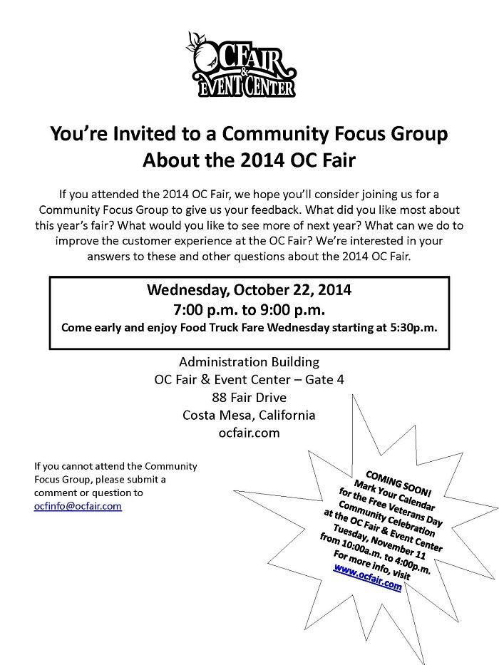 OC Fair Focus Group Meeting | City calendar | City of Costa Mesa